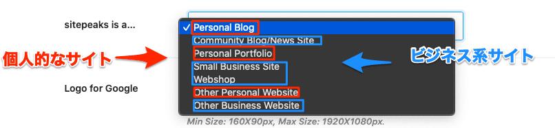 サイトのタイプを選択します