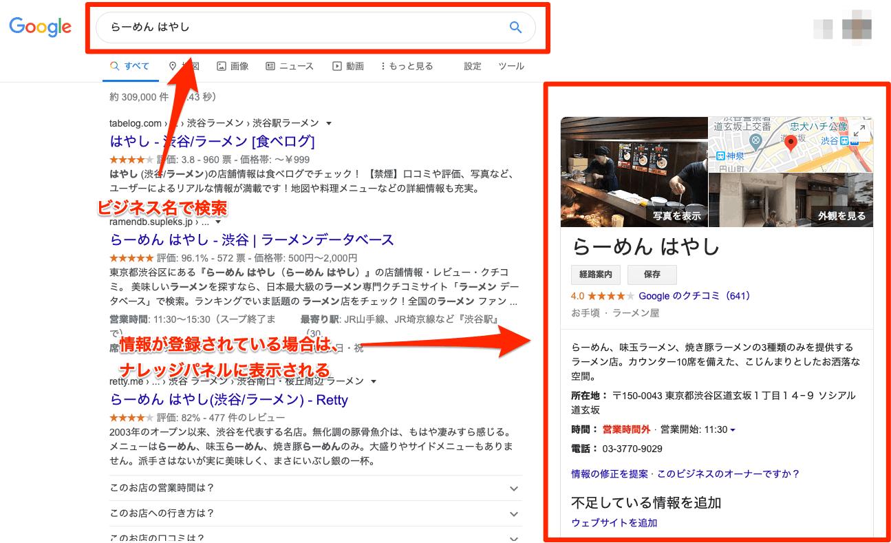 ビジネス名で検索して、自分のお店がGoogleに登録されているか調べる